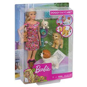 Barbie Fxh08 Doggy Garderie Poupée avec chiot qui Selles blonde et Pets Playset