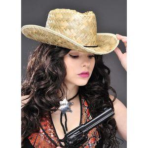 ACCESSOIRE DÉGUISEMENT Chapeau de paille Cowboy adulte Western Ranger