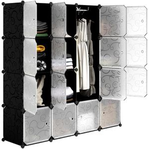 ARMOIRE DE CHAMBRE LANGRIA Garde-Robe Armoire Portable avec 16 Cubes
