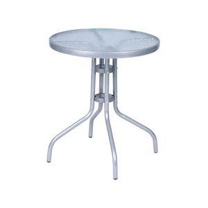 Table Bistrot Ronde avec Plaque de Verre 60 cm, en Métal ...
