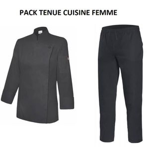 VESTE PROFESSIONNELLE VESTE DE CUISINE FEMME, PANTALON DE CUISINE NOIR