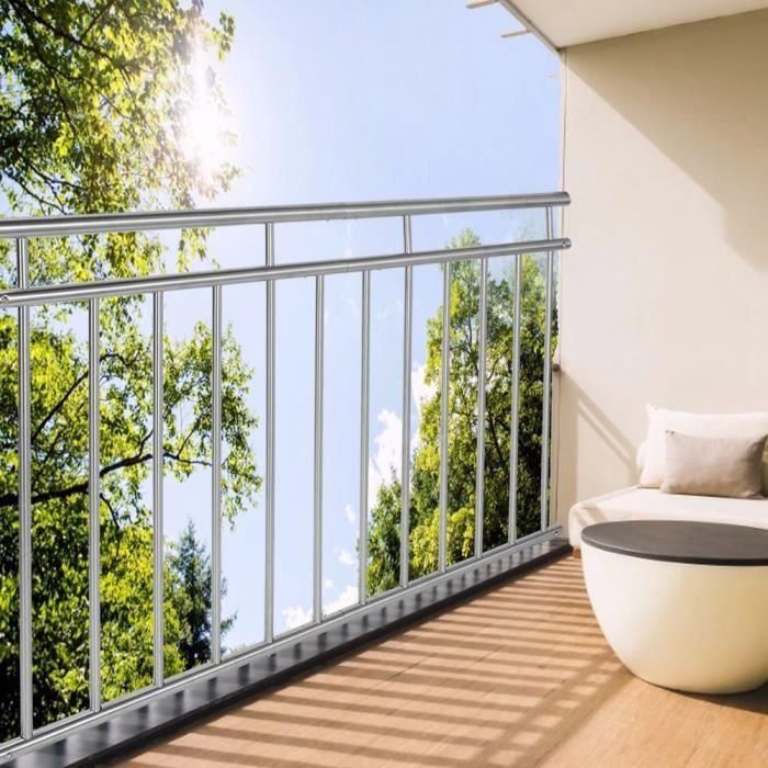 Garde corps balcon anthracite 90 x 128 cm avec 9 barres de remplissage rambarde
