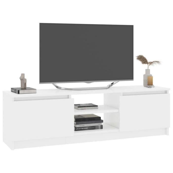WEI Meuble tv - Meuble de salon ,Blanc brillant 120 cm Aggloméré