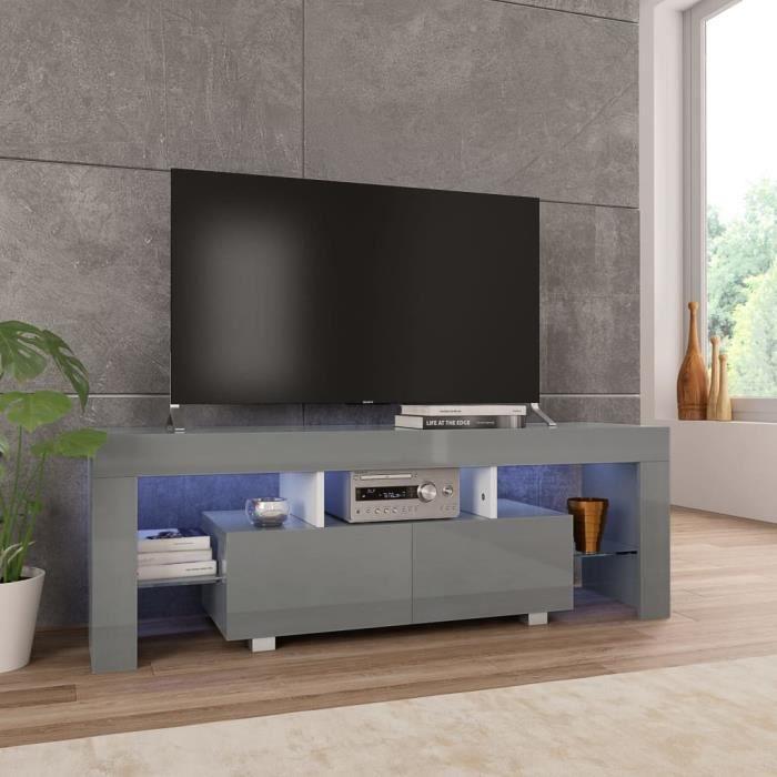 Wei Meuble TV avec lumière LED Gris brillant 130 x 35 x 45 cm# 0
