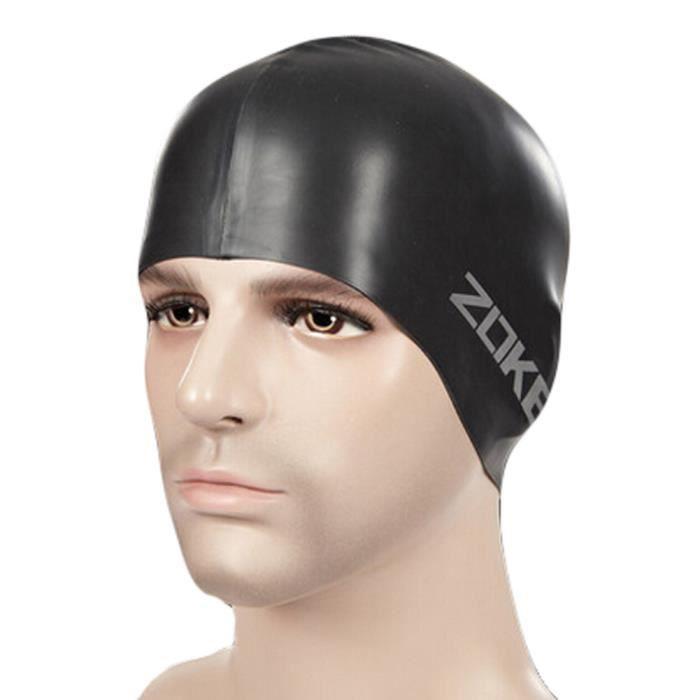 100%silicone étanche Cache-oreilles cheveux professionnel Bonnet de bain,noir