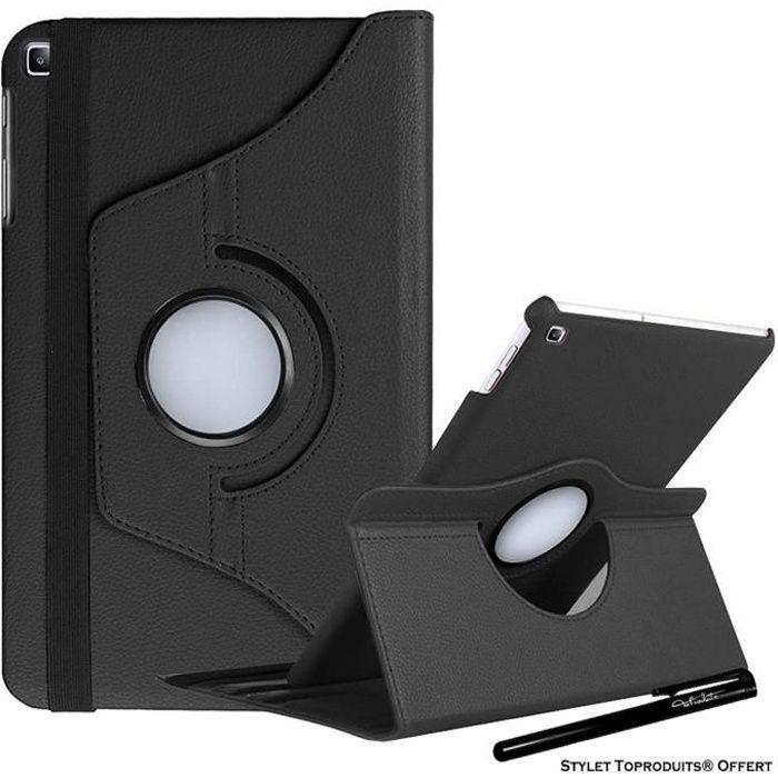 Housse Etui Noir pour Samsung Galaxy Tab A 10.1 2019 T510 T515 Coque avec Support Rotatif 360° avec Stylet Toproduits