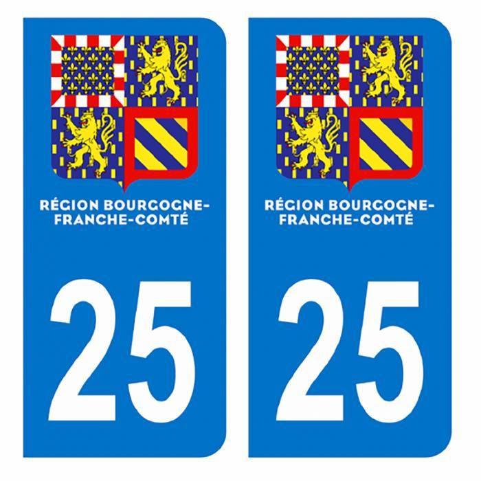 Autocollants Stickers plaque immatriculation voiture département 25 Doubs Logo Région Bourgogne Franche Comté Nouveau modele