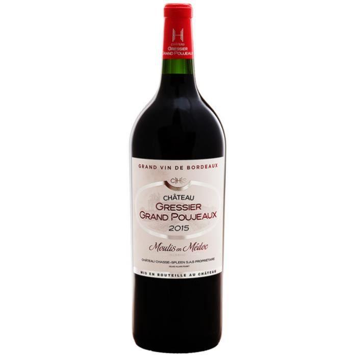 Château Gressier Grand Poujeaux 2015 - AOC Moulis - Vin Rouge - Magnum 150 cl - Signé Château Chasse Spleen