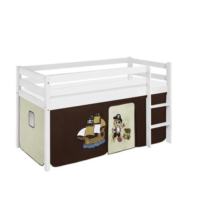 Lit surélevé ludique JELLE 90 x 190 cm Pirate marron beige - avec rideaux - LILOKIDS - blanc laqué