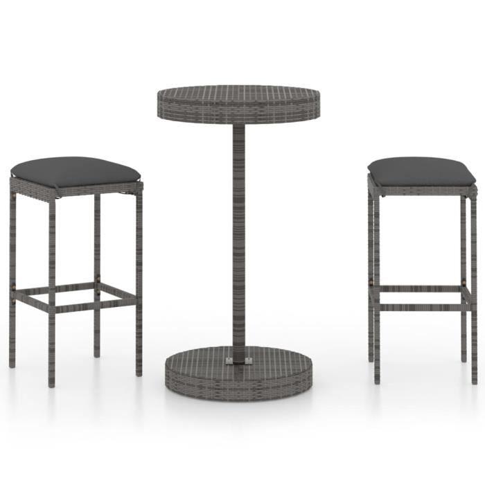 Meuble de bar de jardin-Table avec chaises haute de bar 3 pcs et coussins Résine tressée ®MBNWFI®