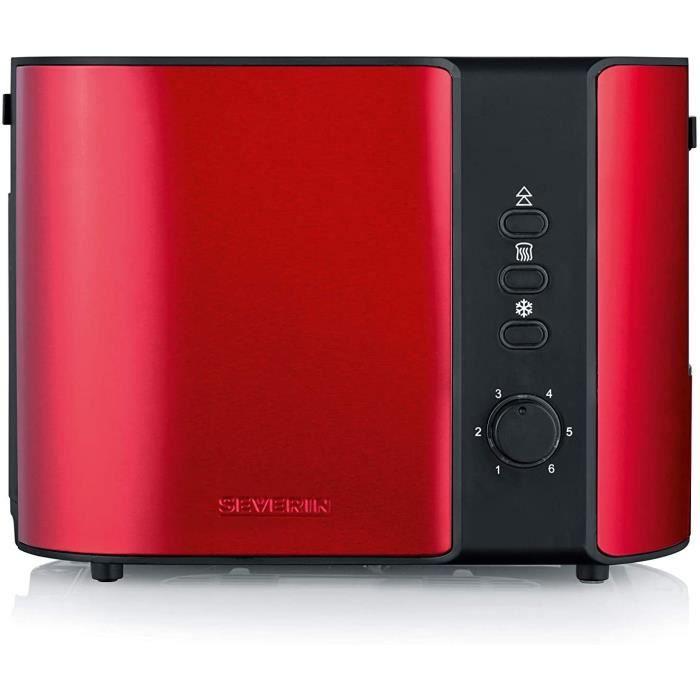 SEVERIN AT 2217 Grille-pain automatique, 2 Fentes, Support Réchauffage-Viennoiseries intégrée, env. 800 W, Rouge Métallique / Noir