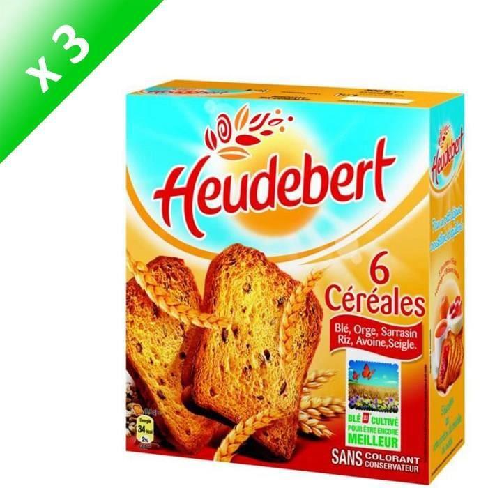 [LOT DE 3] HEUDEBERT Biscottes aux 6 céréales 300g