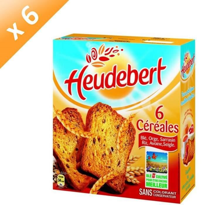 [LOT DE 6] HEUDEBERT Biscottes aux 6 céréales 300g