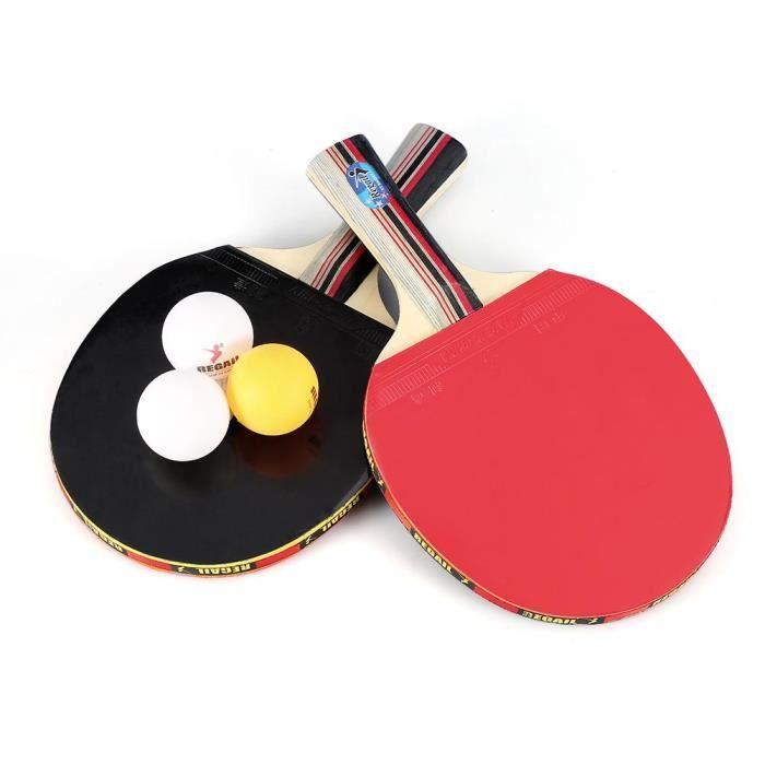 Set De Tennis De Table, 2 Raquette Ping Pong De Peuplier+3 Balle+1 Sac