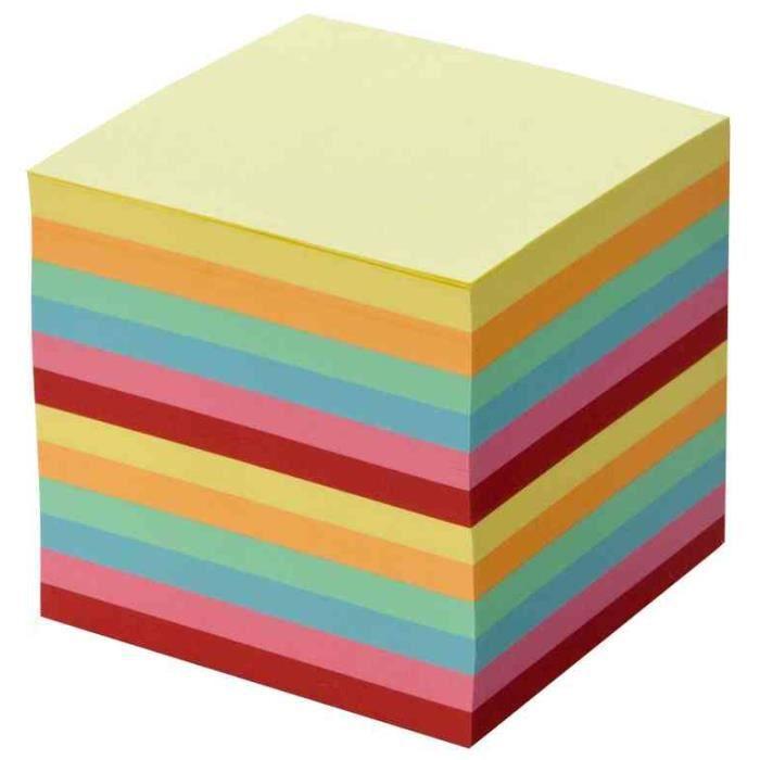 Recharge Bloc cube 90 x 90 mm 700 feuilles Non Collées Couleur