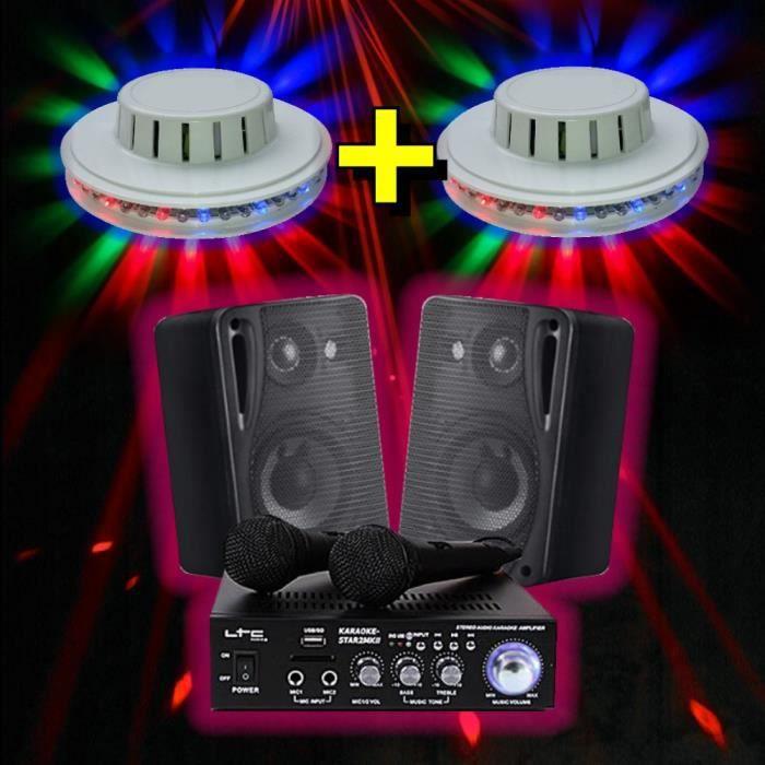 KARAOKE + 2 JEUX DE LUMIERE LED + AMPLI + ENCEINTES + 2 MICROS + USB BLUETOOTH MP3 PA-DJ STAR2MKII