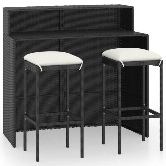 PRO® Ensemble de bar de jardin avec coussins 3 pcs Noir 9145841600048