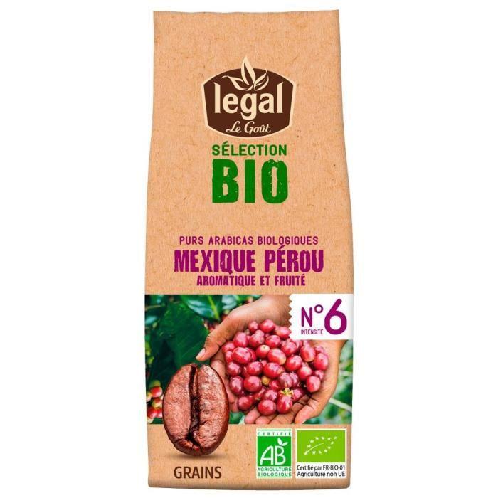 LEGAL Cafés Selection Bio Mexique Perou Grains - 250 g