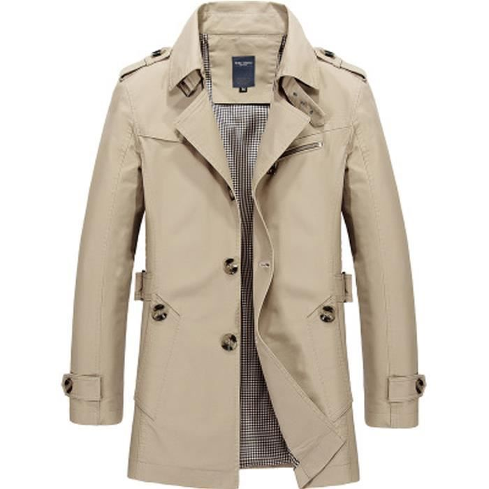 Trench homme Coupe slim Beige ZX-NSZ3001