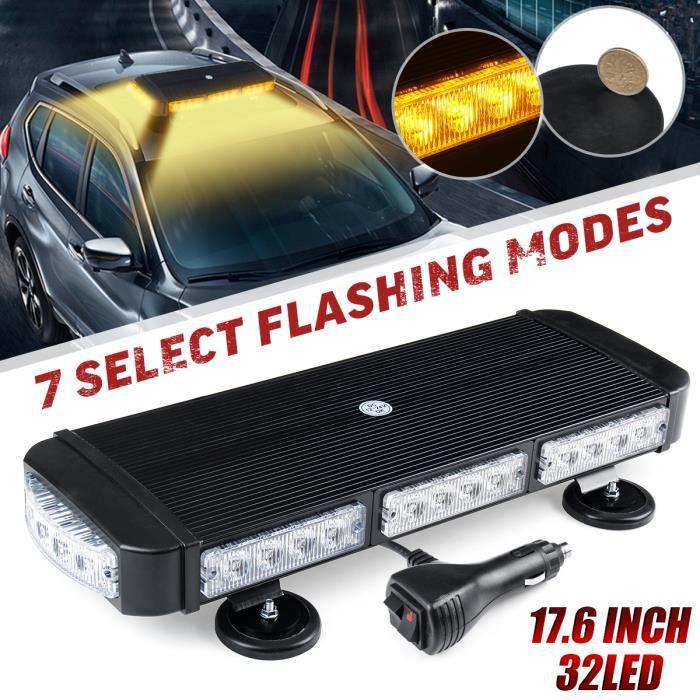T4W 32-LED Voiture Avertissement D'urgence Stroboscopique Barre Lumineuse Balises Lampes Étanche Ambre 12V/ 24V