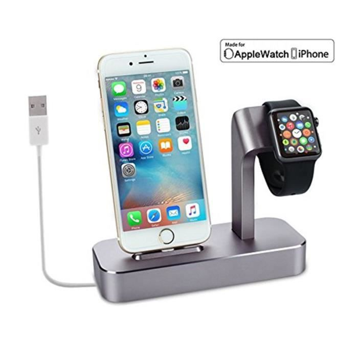 Support de Charge Chargeur pour Iphone Watch Cable Dock Station de Charge 2 en 1 Station 1PC