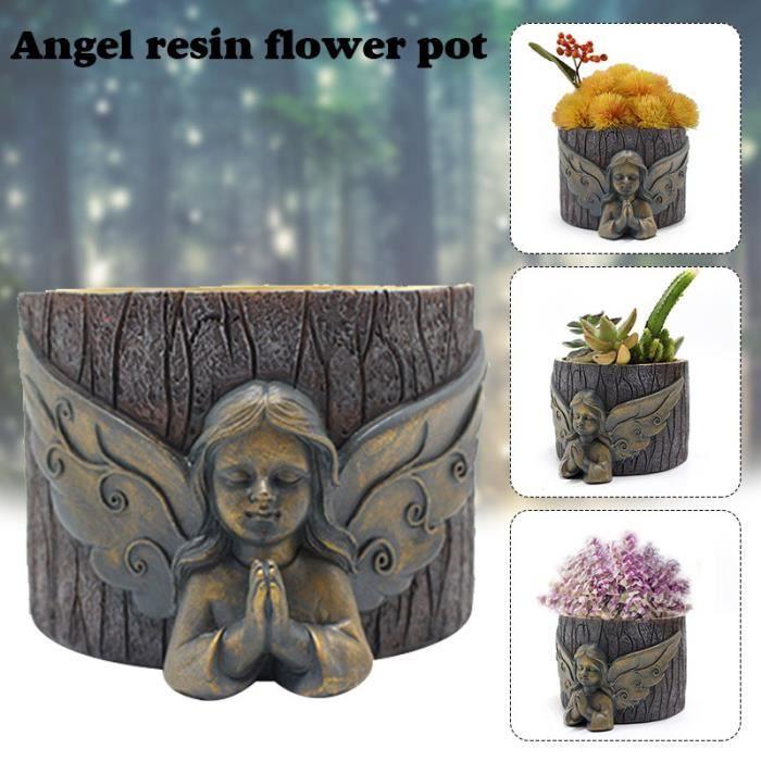 Statue de Pot de fleur d'ange priant pour la décoration de Sculpture d'art en résine de jardin pour les plantes succulentes nouveau
