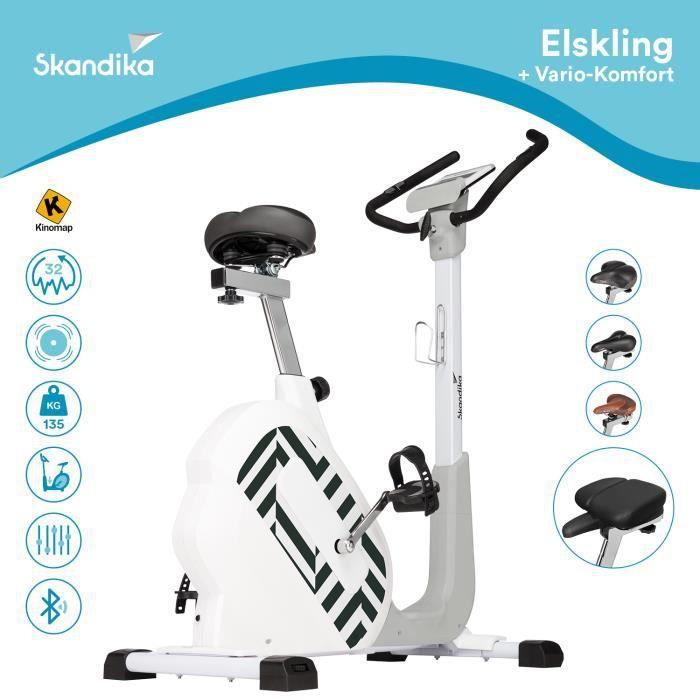 Skandika Elskling - Vélo d'appartement - Selle Vario Confort - 24 Prog. - 32 Niveaux de résistance - Frein magnétique - Inertie 11