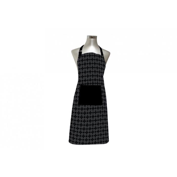 SOLEIL D'OCRE Tablier Damier - 100% coton brodé - 60 x 80 cm - Noir