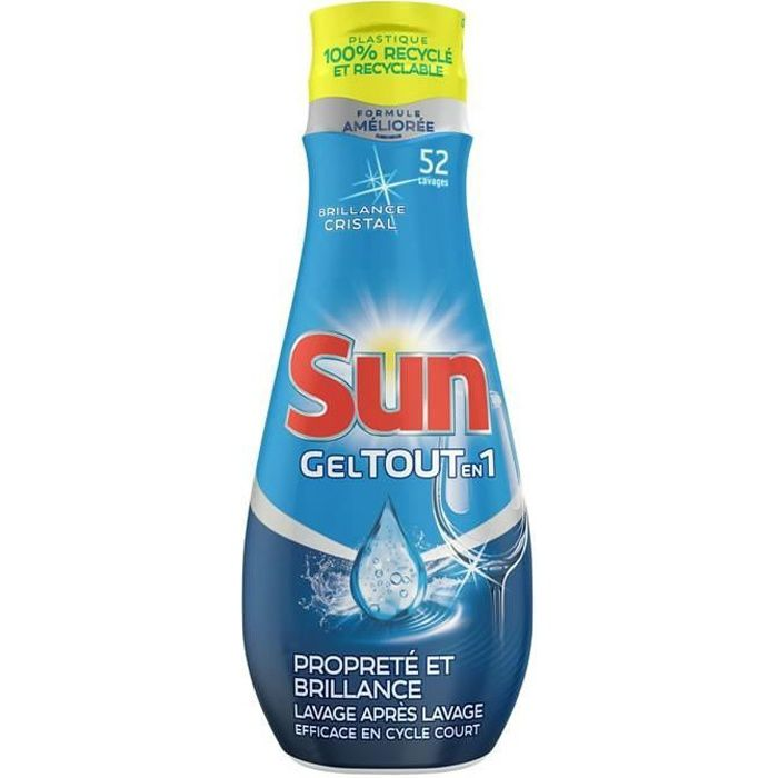 LOT DE 5 - SUN : Tout-en-1 - Gel lave-vaisselle propreté & brillance 52 lavages 900 ml