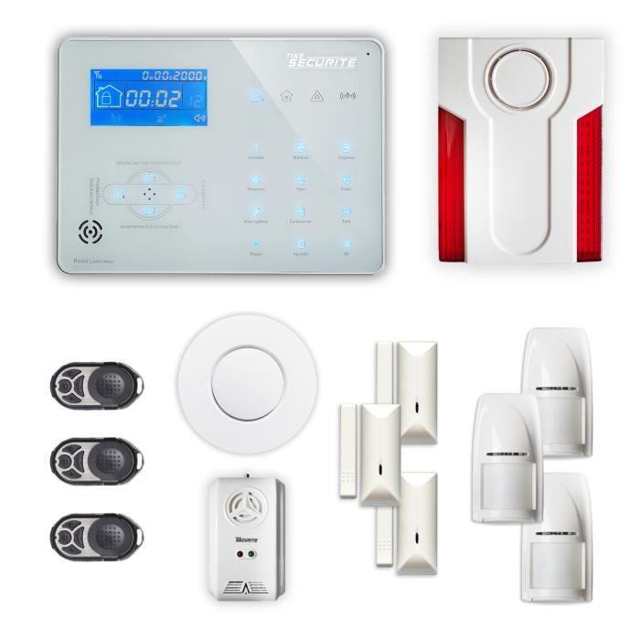 Alarme maison sans fil ICE-B 3 à 4 pièces mouvement + intrusion + détecteur de fumée + gaz + sirène extérieure - Compatible Box inte