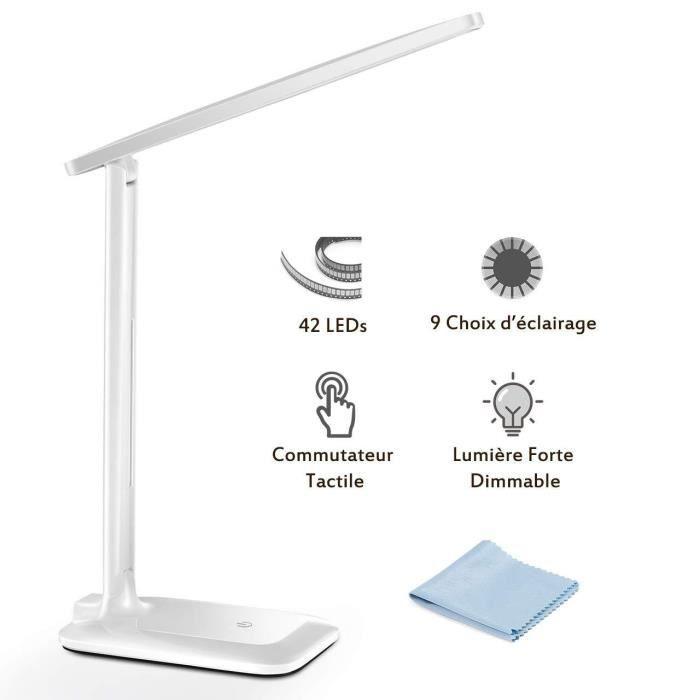 Lampe de Bureau LED, TOPELEK 42 LED Lampe de Chevet Tactile Flexible 5V Adaptate