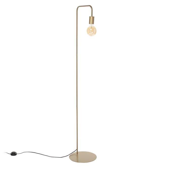 NORWICH Lampadaire en acier - L42 x P30 x H157 cm - Or - Ampoule LED 4W E27 comprise