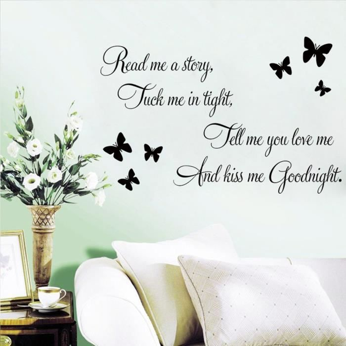 Good night papillon stickers muraux de citations et for Stickers muraux citations chambre