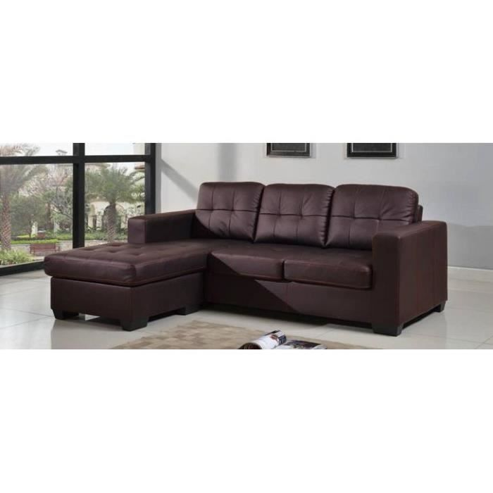 canap d 39 angle design modulable marron chocolat achat vente canap sofa divan cuir. Black Bedroom Furniture Sets. Home Design Ideas