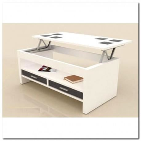 Table basse tiroirs plateau relevable blanche achat for Table basse relevable blanche