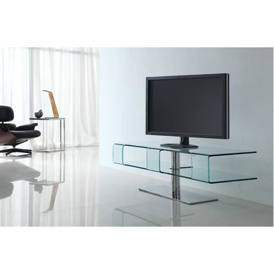 meuble tv en verre achat vente meuble tv meuble tv en verre cdiscount. Black Bedroom Furniture Sets. Home Design Ideas