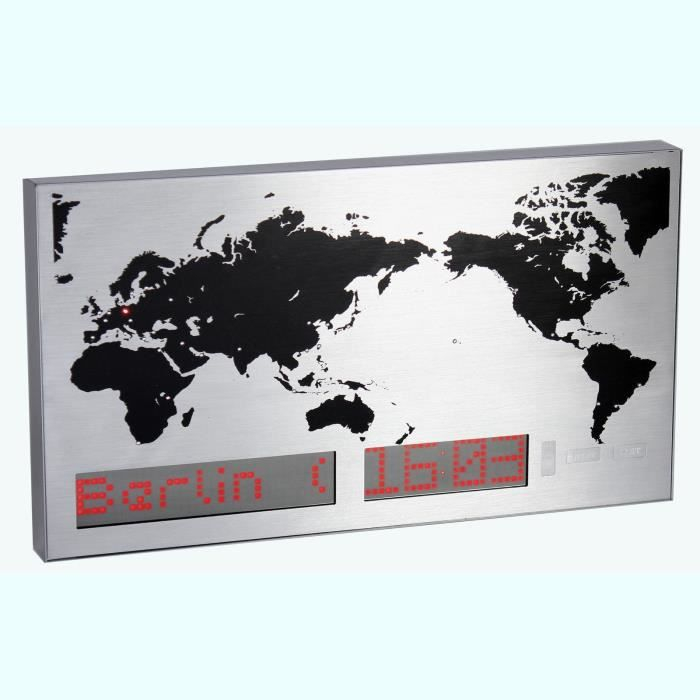 horloge murale carte du monde indication heure achat vente horloge soldes cdiscount. Black Bedroom Furniture Sets. Home Design Ideas