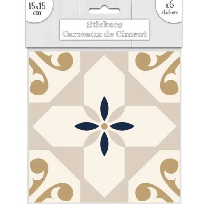 Stickers Carrelage 15X15 6 stickers carreaux de ciment beige et or 15 x 15 - achat / vente