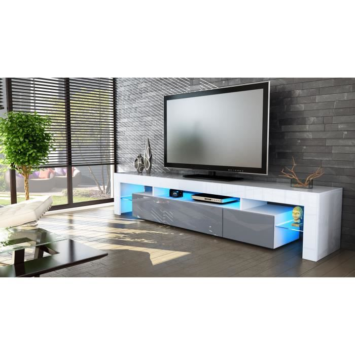 meuble tv blanc et gris 189cm achat vente meuble tv meuble tv blanc et gris 189 cdiscount. Black Bedroom Furniture Sets. Home Design Ideas
