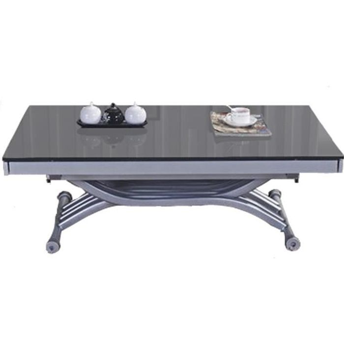 table basse relevable zen plateau en verre gris achat vente table basse table basse. Black Bedroom Furniture Sets. Home Design Ideas