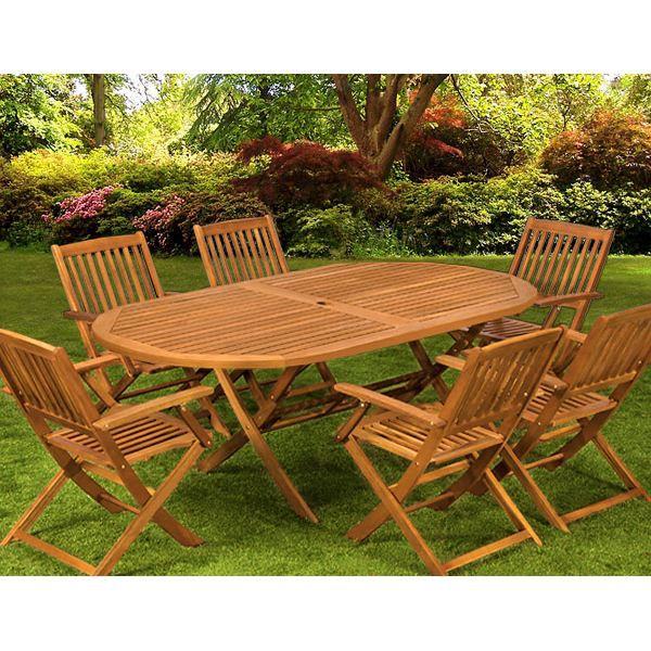 Salon de jardin 1 table 6 chaises bois BOSTON - Achat ...