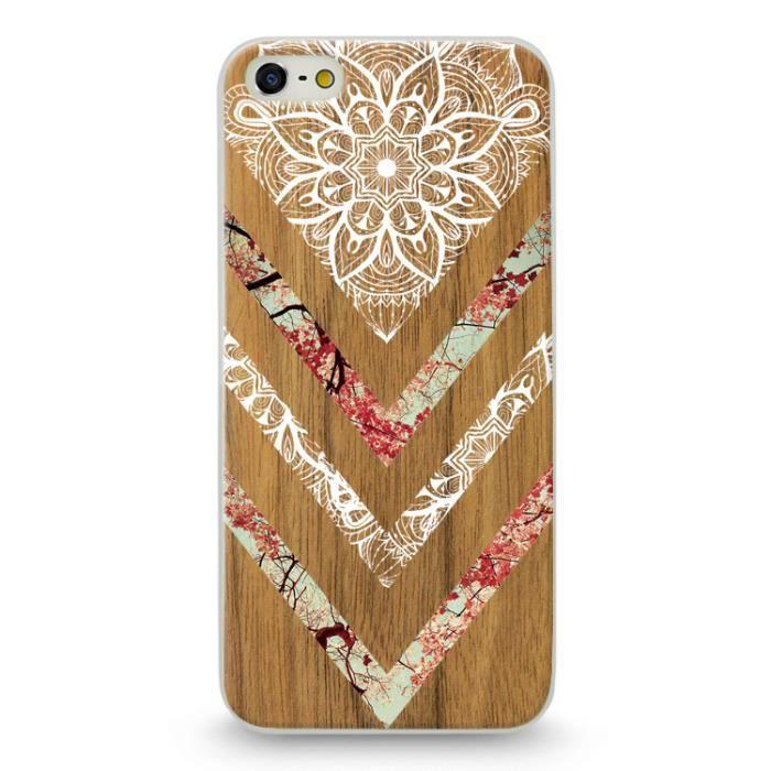 coque iphone 4 4s effet bois marbre fleur dentelle