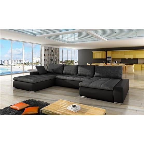 canap angle en u r versible halo gris fonc et noir achat vente canap sofa divan. Black Bedroom Furniture Sets. Home Design Ideas