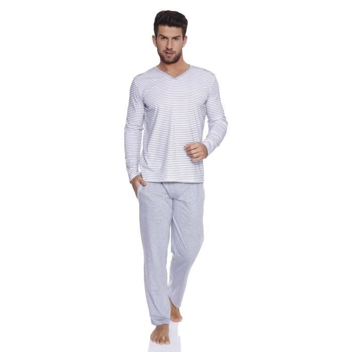Italian fashion if ensemble de pyjama homme arthur blanc for Pyjama homme chaud