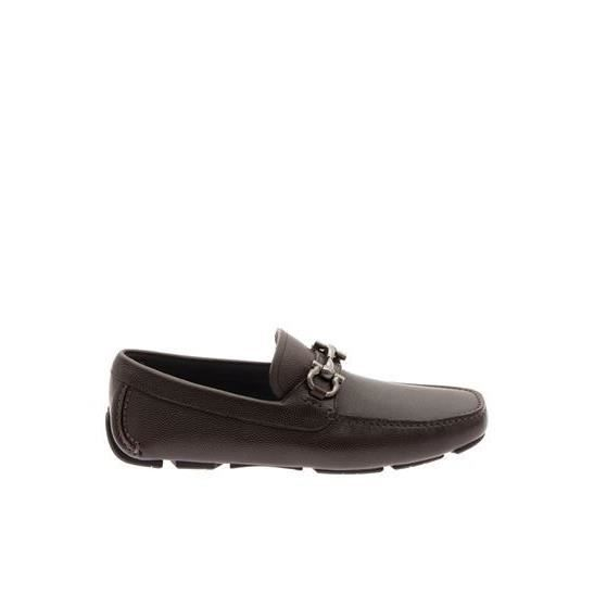 SALVATORE FERRAGAMO HOMME 0671733CHOCOLAT MARRON CUIR MOCASSINS