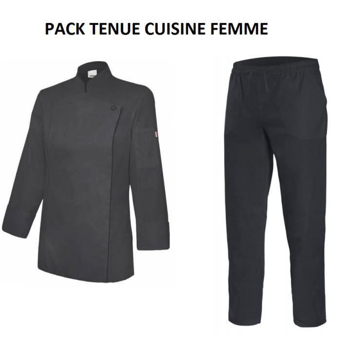 Veste De Cuisine Femme Pantalon De Cuisine Noir Noir Achat