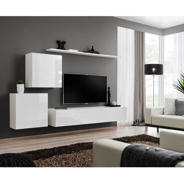 Paris Prix Meuble Tv Mural Design Switch V 250cm Blanc Achat