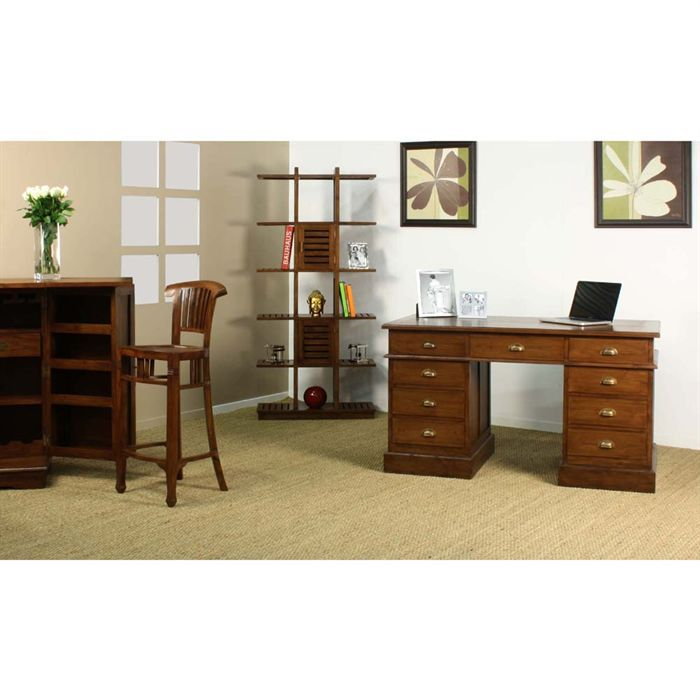 puna bureau notaire en teck noyer fonc achat vente. Black Bedroom Furniture Sets. Home Design Ideas