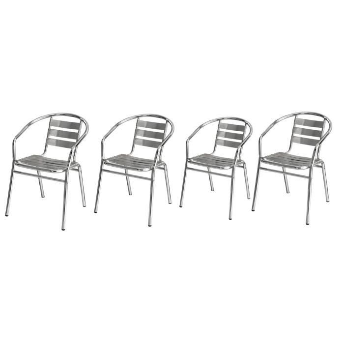 lot de 4 chaises de bistrot chrom odeon achat vente chaise alu soldes d t cdiscount. Black Bedroom Furniture Sets. Home Design Ideas