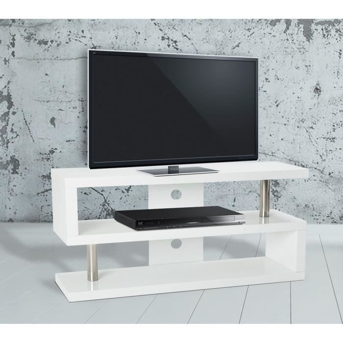 Sunset meuble tv 120 cm laqu blanc brillant achat for Meuble tv 120